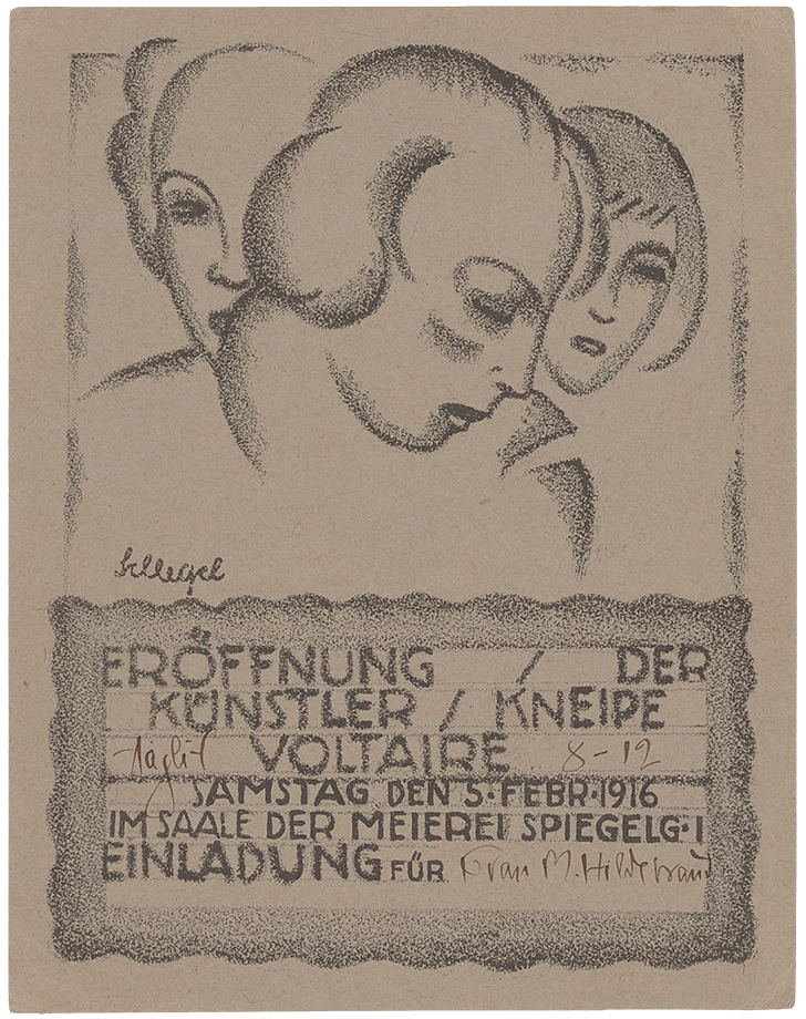 Karl Schlegel, Invitation card for the opening of the Künstler-Kneipe Voltaire, 1916