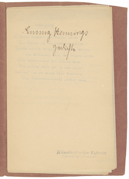 Emmy Hennings, Gedichte (Poems), 1916