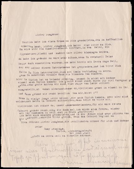 Emmy Hennings, Brief an Reinhold Rudolf Junghanns, 1916