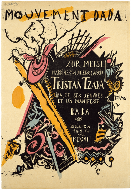 Marcel Janco, Poster for the soirée of Tristan Tzara at the Zunfthaus zur Meisen, 1918