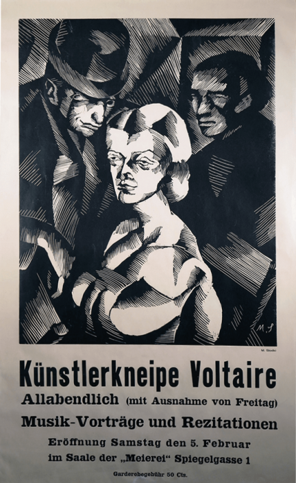Marcel Słodki, Poster for the opening of the Künstlerkneipe Voltaire, 1916